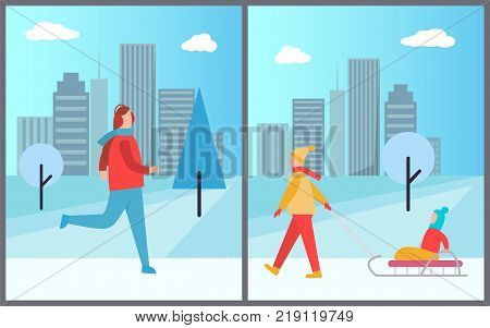 Man skiing on ice and woman with kid sitting on sledge, holidays of people in city, cityscape with trees and skyscrapers vector illustration