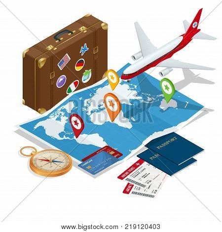Travel and tourism background. Flat 3d Vector illustration. To travel is to live Bag, passport, tickets and Passenger airplane. Luxury vacation. Our travel destinations banner
