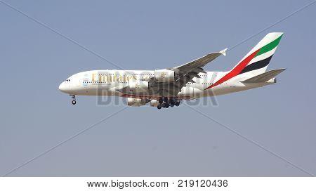 Dubai UAE March 9, 2017: Airbus A380 from Emirates landing at Dubai Airport.