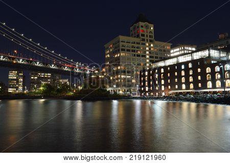Fragment of Brooklyn Bridge Park at night.
