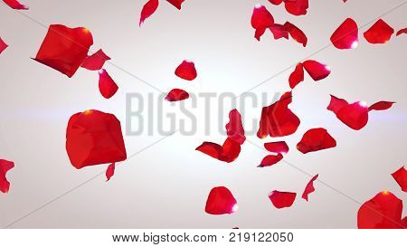 Flying Petals Of Red Roses