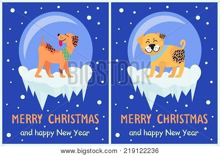 Merry Christmas and happy New Year dog symbol in snowy bubble on dark background. Vector illustration with friendly rottweiler and playing akita on ice