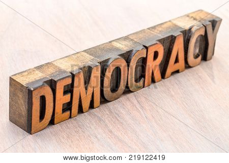 democracy  word abstract in vintage letterpress wood type