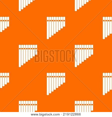 Pan flute pattern repeat seamless in orange color for any design. Vector geometric illustration