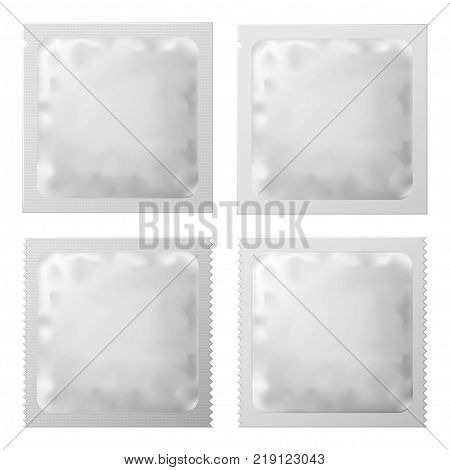 Realistic White Blank template condom Packaging. Set of Condom Or Foil wet wipes Pouch Medicine packet. Vector illustration of condom Or sachet Foil wet wipes packet. EPS 10