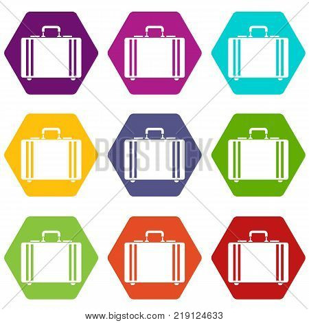 Diplomat icon set many color hexahedron isolated on white vector illustration