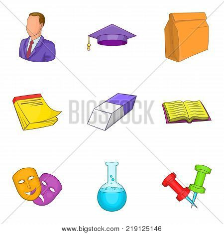 Educational institution icons set. Cartoon set of 9 educational institution vector icons for web isolated on white background