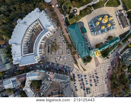 St. Michael's Golden-Domed Monastery and Ministry of Foreign in Kyiv. Top view panoramic photo. Horizontal.