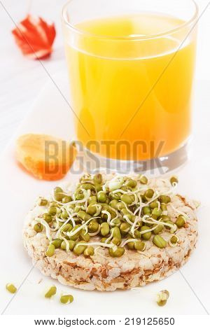 Sprouted grains on  puffed wheat cakef, fresh juice, carrots. Healthy food from natural products. closeup