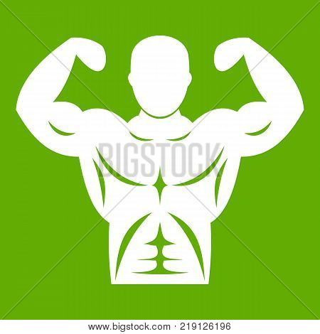 Athletic man torso icon white isolated on green background. Vector illustration