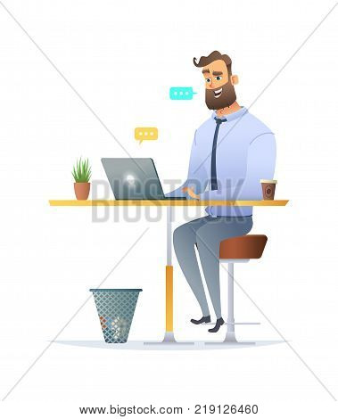 Man sitting at the desk and chatting on his laptop. Fanny cartoon character design