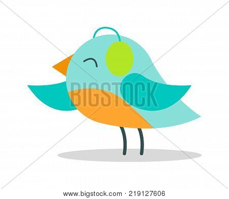 Tiny bird with blue plumage in warm earpieces stands on thin legs isolated vector illustration on white background. Christmas animal in headgear.