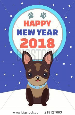 Happy New Year, placard with dog sitting and wearing blue collar on neck, headline and prints of paws in circle, isolated on vector illustration
