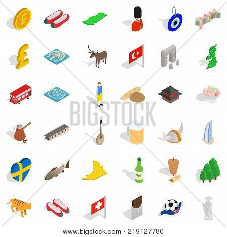 Currency icons set. Isometric style of 36 currency vector icons for web isolated on white background