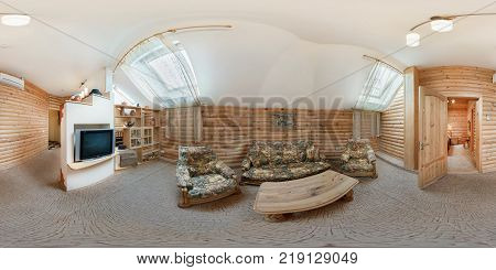 MOGILEV BELARUS - JUNE 18 2012: Panorama in interior stylish room in hotel in rustic wood style. Full 360 degree seamless panorama in equirectangular equidistant spherical projection