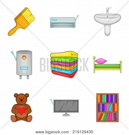 Domestic icons set. Cartoon set of 9 domestic vector icons for web isolated on white background