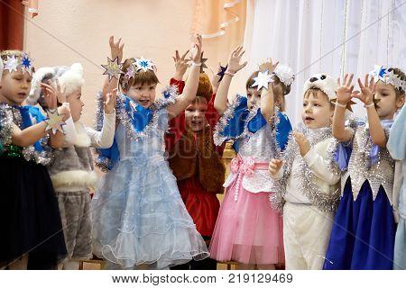 Gomel, Belarus - December 20, 2017: New Year's Holiday For Children In Kindergarten. Children 4 - 5