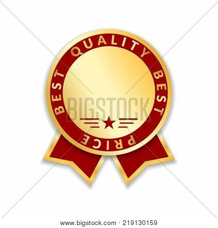 Ribbon award best price label. Gold ribbon award icon isolated white background. Best quality golden label for badge medal best choice price certificate guarantee product Vector illustration