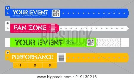 Set of bracelets for entrance to the event. Live performance entrance vector bracelets templates. Dance Music or Concerts. entrance to fan zone