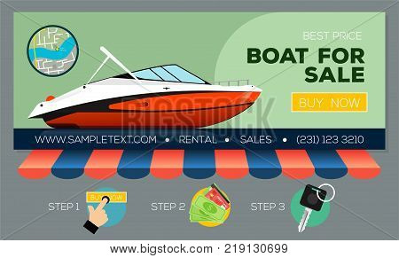Web banner with motor yacht for sale or rental. Buying or rent motorboat online. Vector illustration