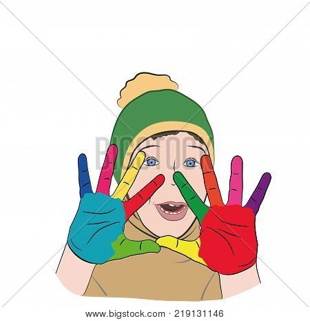 the boy's hands are painted in different colors. autism. Conceptual for Autism Awareness Montn. vector illustration.
