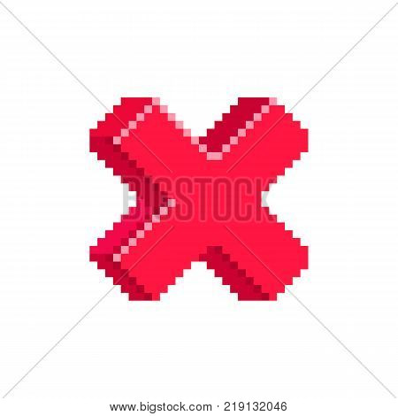 Cross red icon of decline document. Isolated pixeled cross symbol on white background. Retro game element.