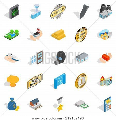 Over profit icons set. Isometric set of 25 over profit vector icons for web isolated on white background