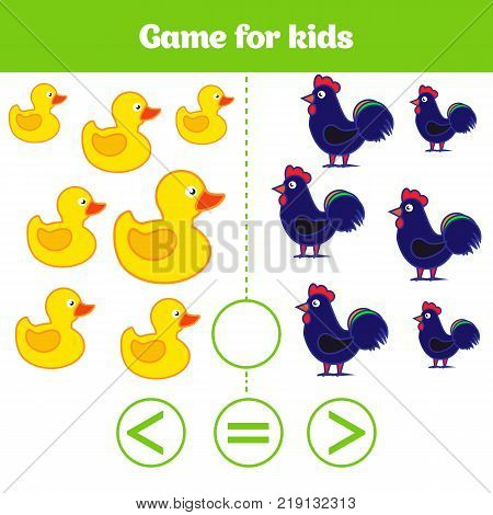 Education logic game for preschool kids. Choose the correct answer. More, less or equal Vector illustration. Animal pictures for kids.