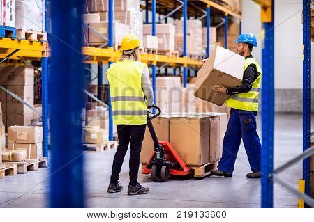 Young workers in a warehouse loading or unloading a pallet truck.