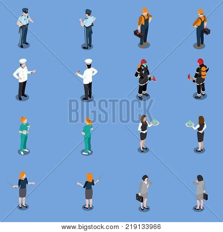 Professions uniform isometric people set of isolated human characters in various uniform representing different occupations vector illustration