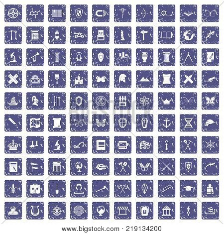 100 archeology icons set in grunge style sapphire color isolated on white background vector illustration