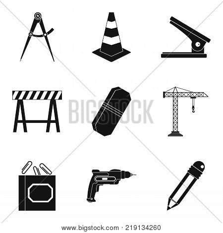 Construction department icons set. Simple set of 9 construction department vector icons for web isolated on white background
