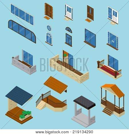Isometric house constructor elements collection with isolated images of glossy windows doors balcony and stoop vector illustration