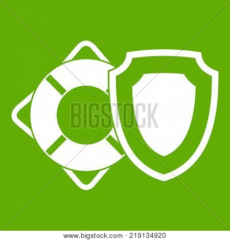 Lifebuoy and safety shield icon white isolated on green background. Vector illustration