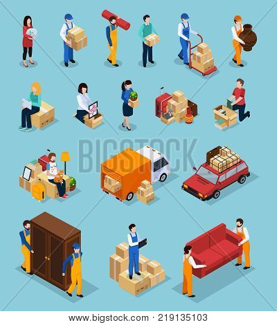 Relocation service isometric icons with clients and loaders, packages, furniture, vehicles isolated on blue background vector illustration