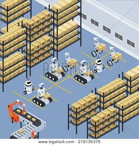 Automated logistics warehouse storage facility isometric composition with unmanned robots sorting moving and placing parcels vector illustration