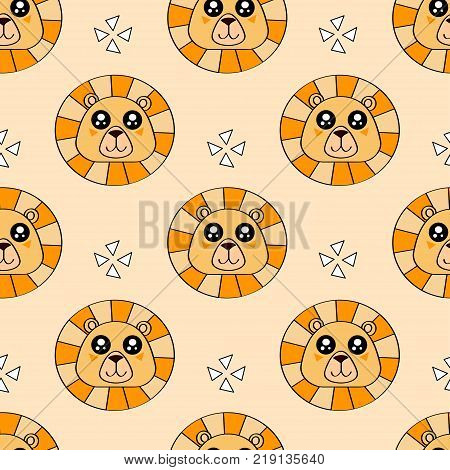 Cute Kids Lion Pattern For Girls And Boys. Colorful Lion, Stars On The Abstract Background Create A
