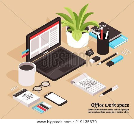 Office workspace isometric business design concept with notebook glasses diary cup of coffee and stationary items vector illustration