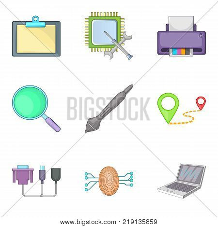 Computer part icons set. Cartoon set of 9 computer part vector icons for web isolated on white background