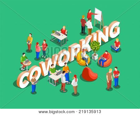 Coworking people isometric composition with figures of freelance worker characters and cumbersome text on green background vector illustration