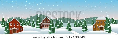 Winter village or farm landscape scene. Snow houses conifer trees. Christmas or New Year season. Use as background in cartoon or game asset. Vector illustration horizontally seamless