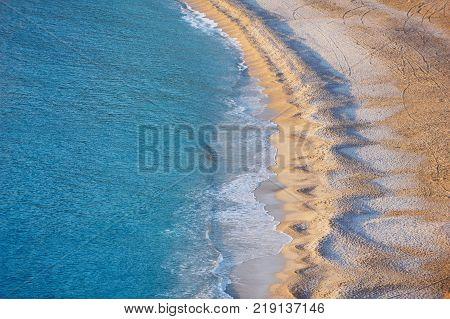 Aerial View of empty Oludeniz Beach, Fethiye, Turkey