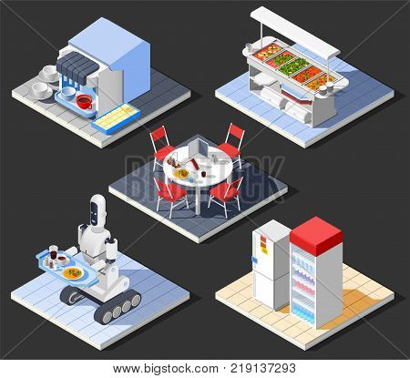 Fast food self service restaurant isometric interior composition with set of furniture and cooking equipment images vector illustration