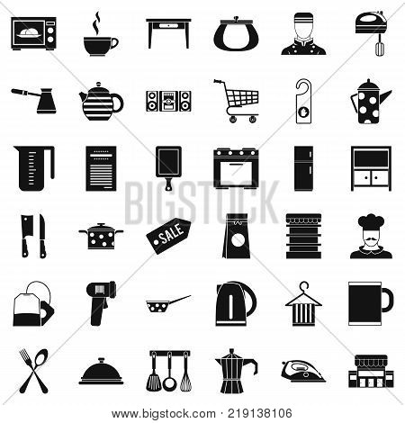 Kitchen utensil icons set. Simple style of 36 kitchen utensil vector icons for web isolated on white background