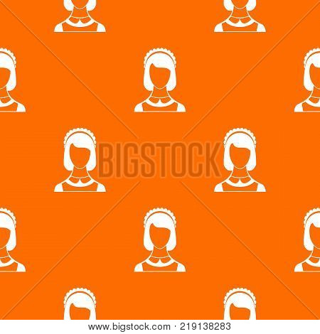 Maid pattern repeat seamless in orange color for any design. Vector geometric illustration