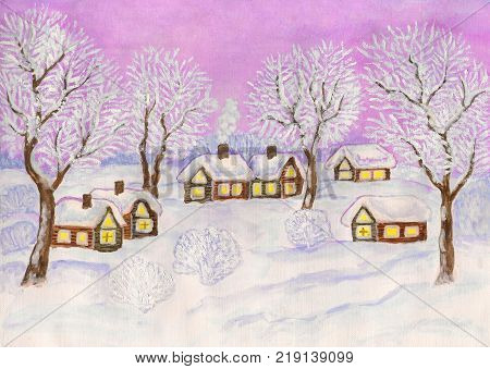 Hand painted Christmas illustration, watercolour and white gouache, winter landscape with village houses and trees pink sky.