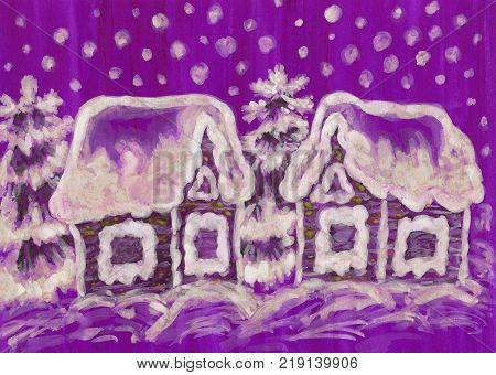 Hand painted picture to Christmas and New year holidays, gouache, watercolurs, houses and spruce fir-trees on purple background.