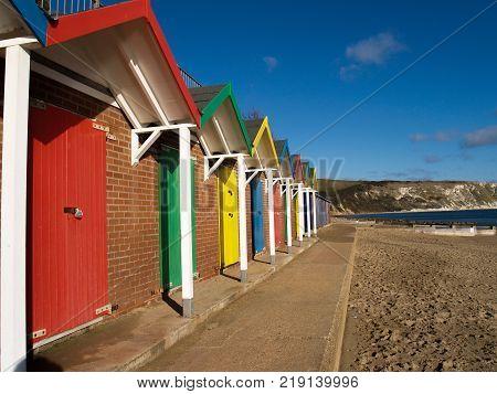 Swansea Beach huts Swansea beach huts England - November 22, 2017: View of Swansea beach huts