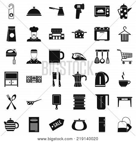 Utensil icons set. Simple style of 36 utensil vector icons for web isolated on white background