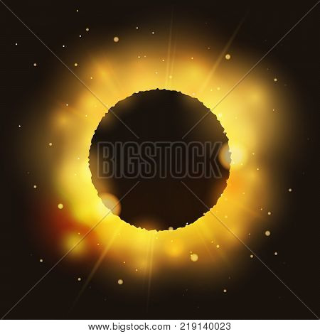 Eclipse on bright glossy star with text place